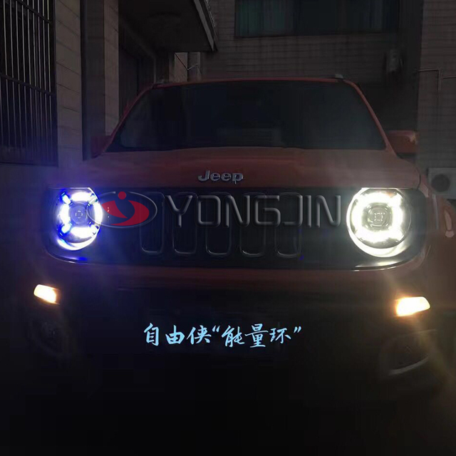 Car Styling For JEEP Renegade headlights For Renegade LED head lamp Angel eye led DRL front light Bi-Xenon Lens xenon HID
