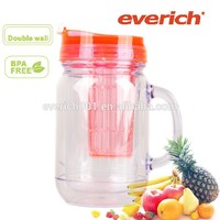 bpa free double wall AS plastic drinking jar with fruit infuser