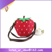Popular Girls quality lovely strawberry fruit straw bag