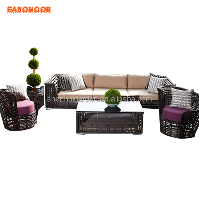 Lounge Removable Cover Modern Round Rattan Outdoor Patio Furniture