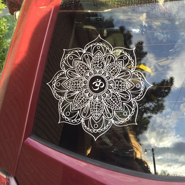 Classic mandala car decal om mandala sticker yoga decal boho decor mandala flower decal wall sticker