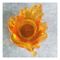 Harvest Glass Leaf Tealight Holder Votive Glass Candle Holder