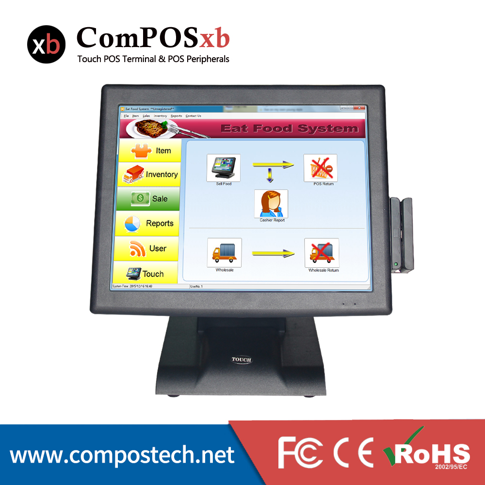 15 inch EPOS , POS hardware with MSR & customer display ,factory offer