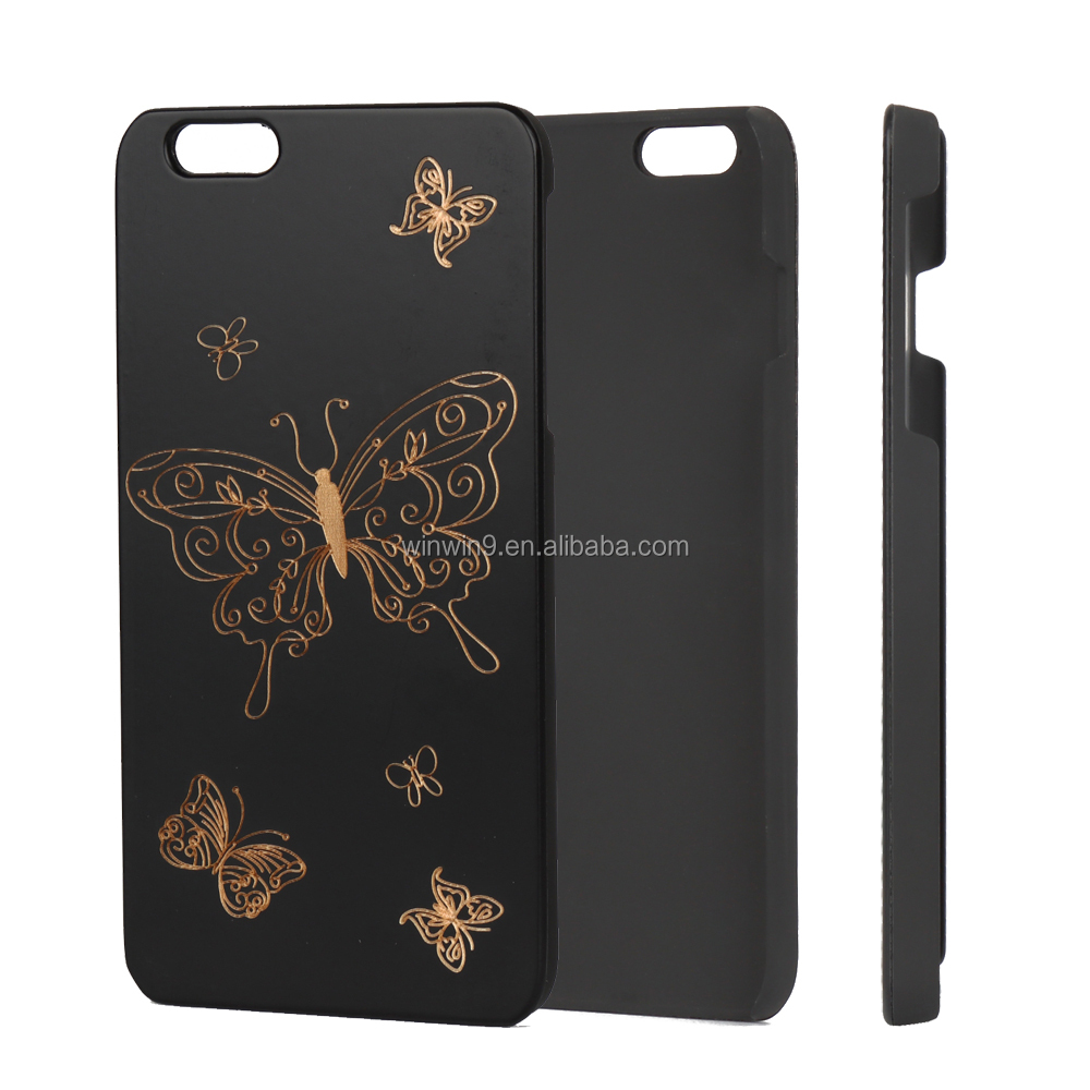 Good quality black wood phone case for IPhone, engraving laser design custom logo desin wood mobile phone case for IPhone 7