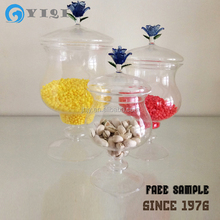 Mouthblown Clear Glass Candy Jar With Flower Lid