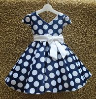 Baby dresses girl polka dot white bow elbise vetement enfant fille