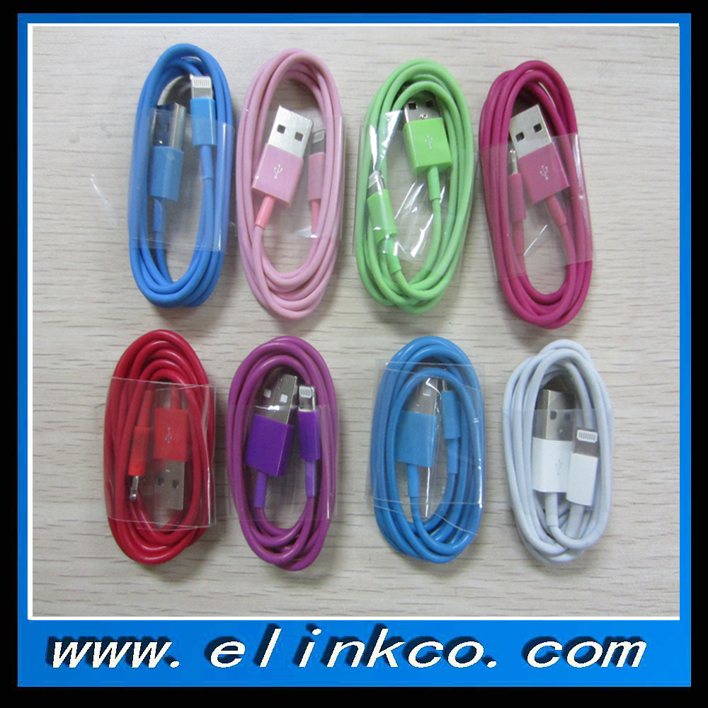 Classic round type8packs/lot 8 different colors 8pin usb cable for smart phone