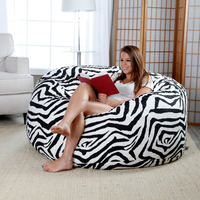 4 ft. Twill Fuf Foam Bean Bag Sofa - Zebra