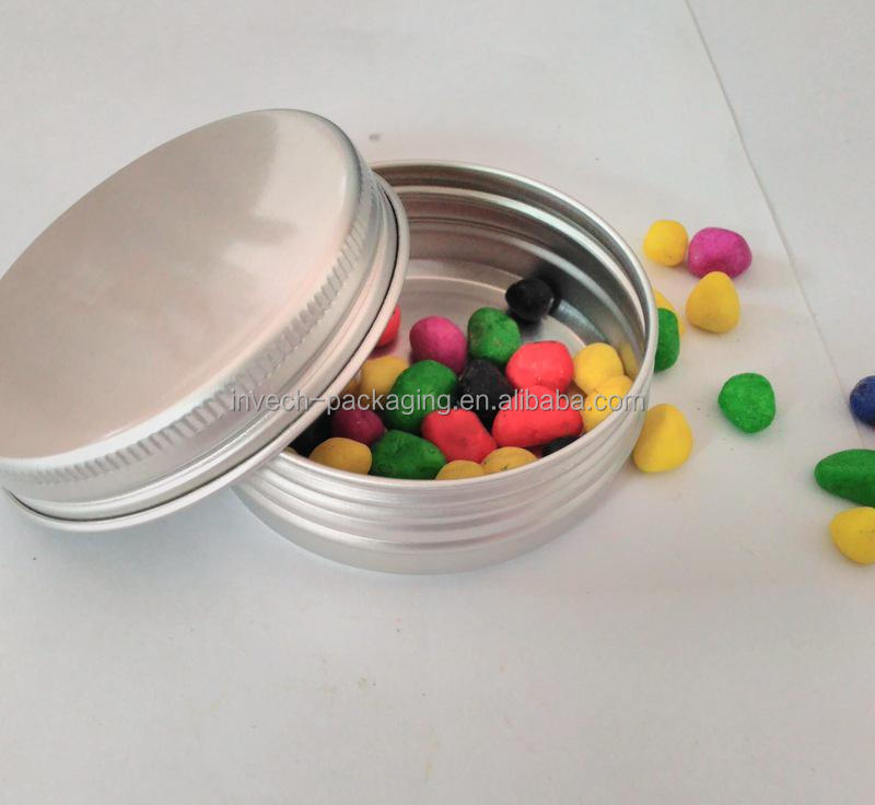 aluminum tin can for candy,Christmas gift candy metal box empty round packaging tin