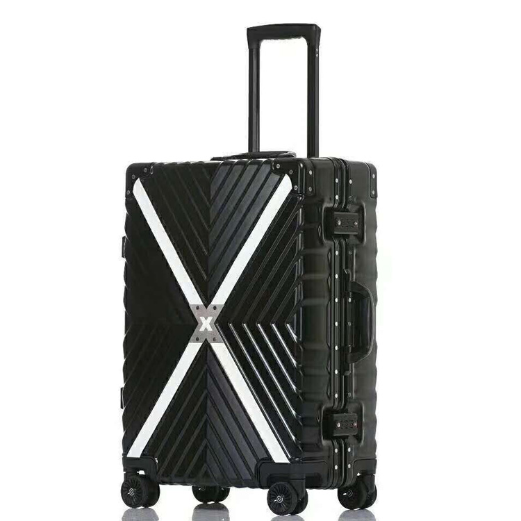 the popular design business travel aluminium luggage with double wheel