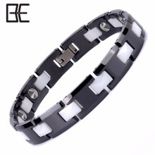 Bio Energy Custom Men Women Korea Jewelry Ceramic Metal Germanium Magnetic Cuff Bracelet Wholesale