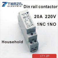 CT1 2P 20A 1NC 1NO 220V/230V 50/60HZ Din rail Household ac contactor