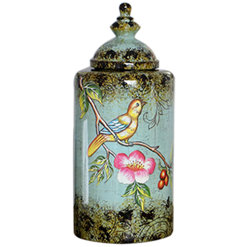 American village style antique flowers and birds ceramic home decor vase for wholesale