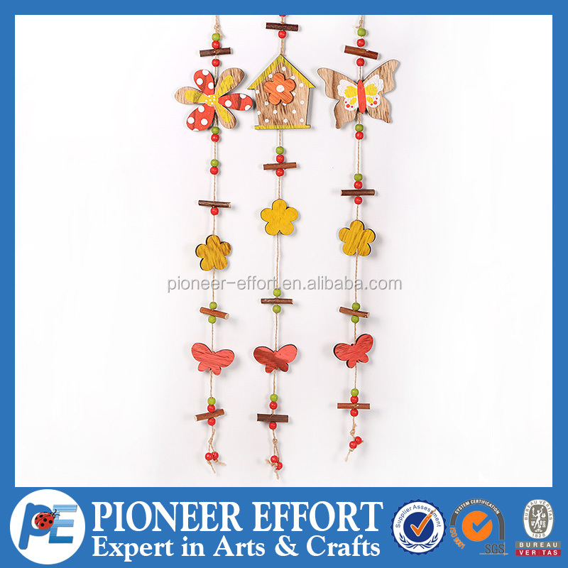 Wooden Hanging Ornament with Flower, Beads, Butterfly, House for Home Decoration