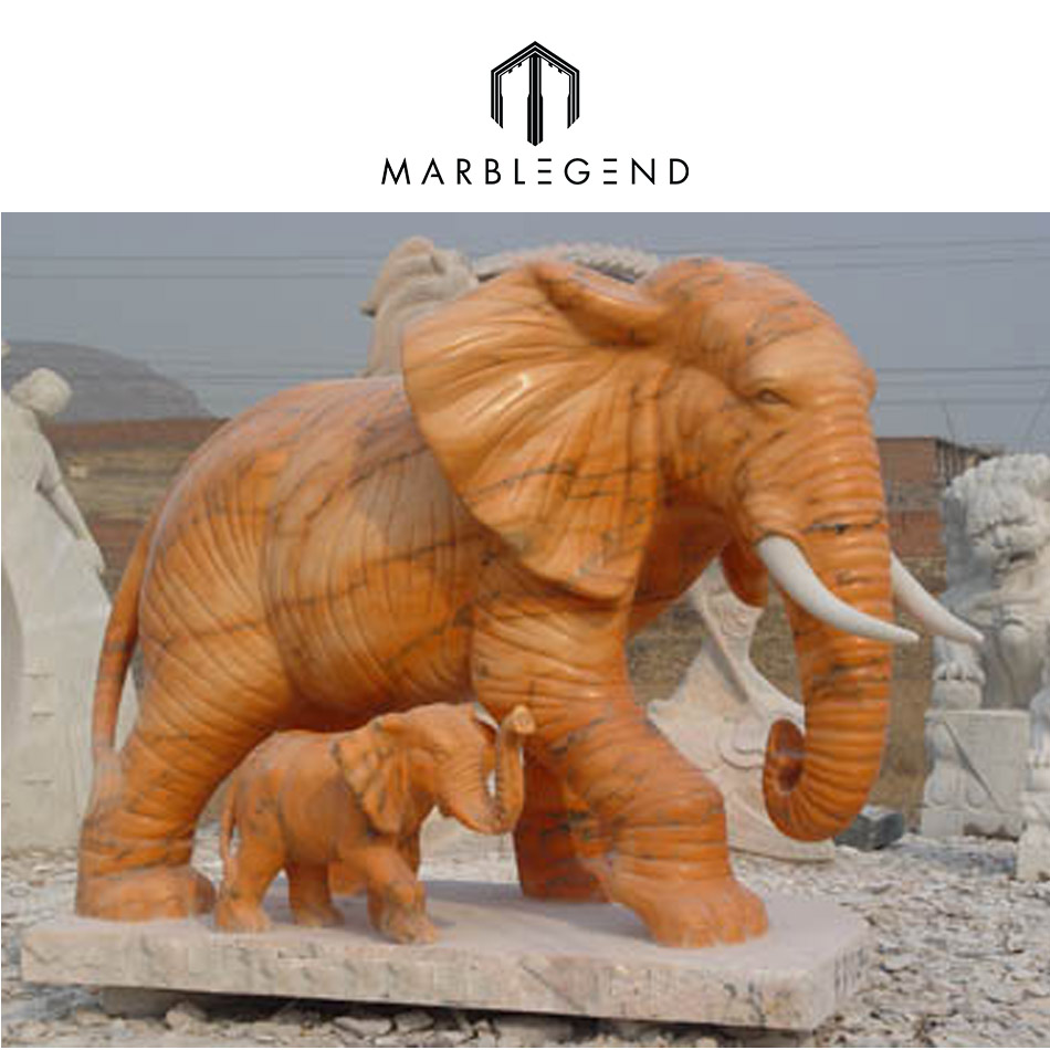 For garden decoration red indian marble elephants