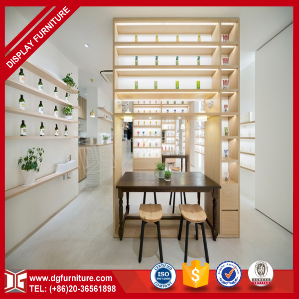 Customized modern wooden cosmetic counter display shelves