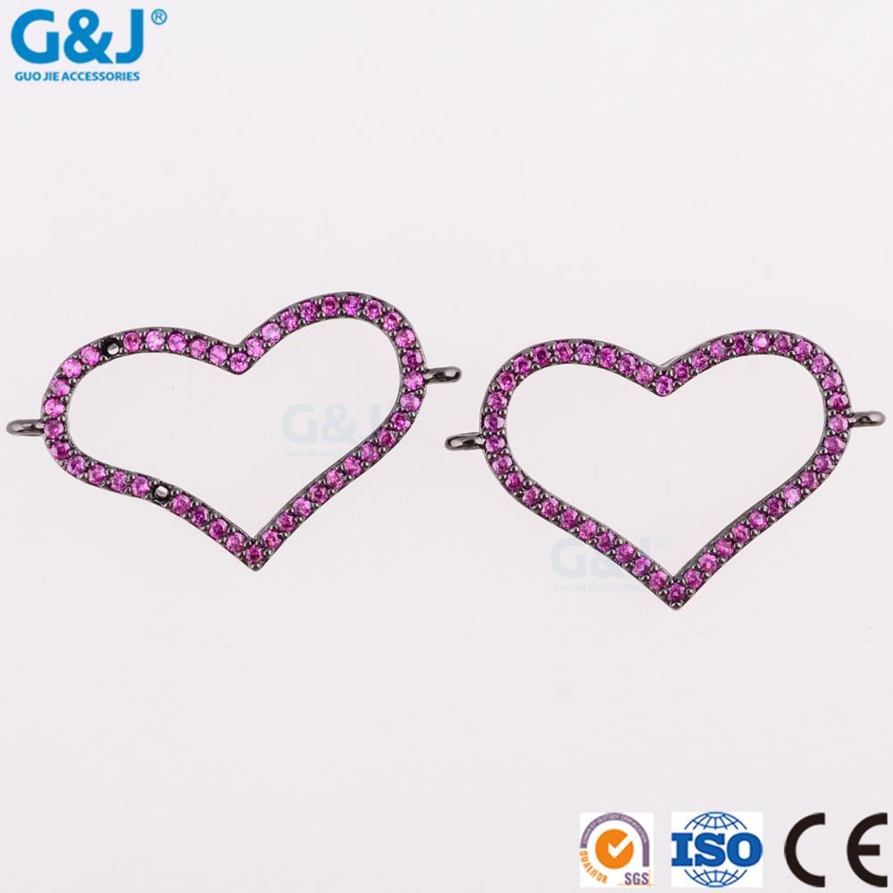 Guojie brand sale women rhinestone jewelry necklace high quality simple design customize rose gold blank heart pendant