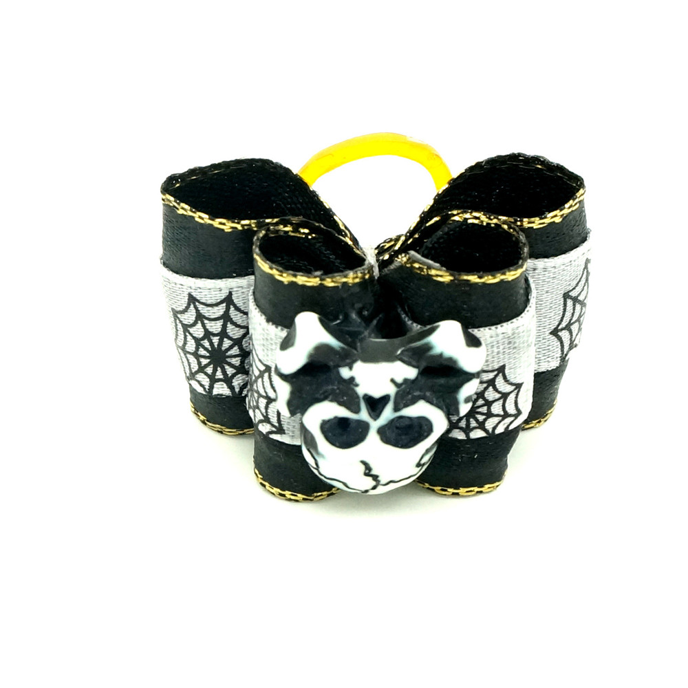 Pet Halloween Skeleton Accessories Black Bowtie Dog Hair Ornaments