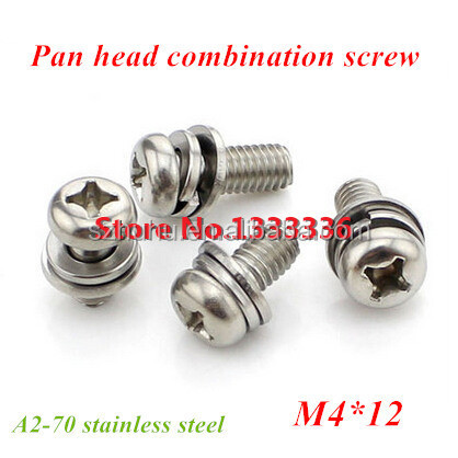 100pcs/lot M4*12 Pan Head Combination Screw Three Combined <strong>Bolt</strong> with Flat/ Spring Washer 304 <strong>Stainless</strong> <strong>Steel</strong>