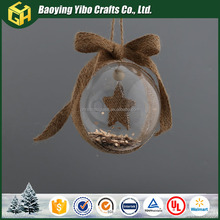 Glass personalized 2017 christmas clear glass craft ball ornament