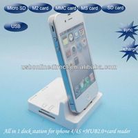 Multi functional 30 pin Dock station charger for Apple iphone 4 4s support data syncing Blue