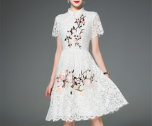 Autumn And Spring Ladies Long White Dress Lace Crocheted Dress Elegant Wholesale Women Clothing