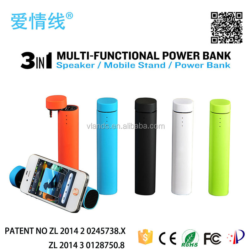 2016 new arrival music mini bluetooth speaker with power bank,powered music with power bank 4000mah,power tube speaker 3 in 1