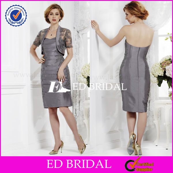 NS487 Classic Knee Length Short Sleeve Jacket Silver Grey Mother Of The Bride Dress