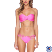 China swimwear fashion swimwear bikini model women padded halterneck latest extreme bikini top