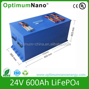 Lithium ion battery 24V 600Ah solar battery recharge battery