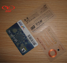 Custom Transparent RFID PVC Smart Card / Contactless Chip Card