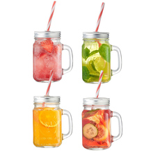 Wholesale 16oz Ice Cold Drinking Glass Mason Jar With Handle And Straws