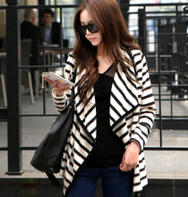 Latest design women blouse ladies long sleeve spring/autumn lady cotton stripe fashion coat