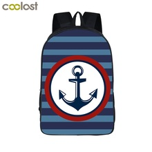 COOLOST 16'' Cute Polyester School Bag Vintage Navy Anchor Series Travel Backpacks Portable Durable Bookbags