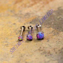 Purple Opal Stone Nose Bones Bars Stud Ring16g 18g Earring Tragus Ear Piercing Body Jewelry Internally Thread