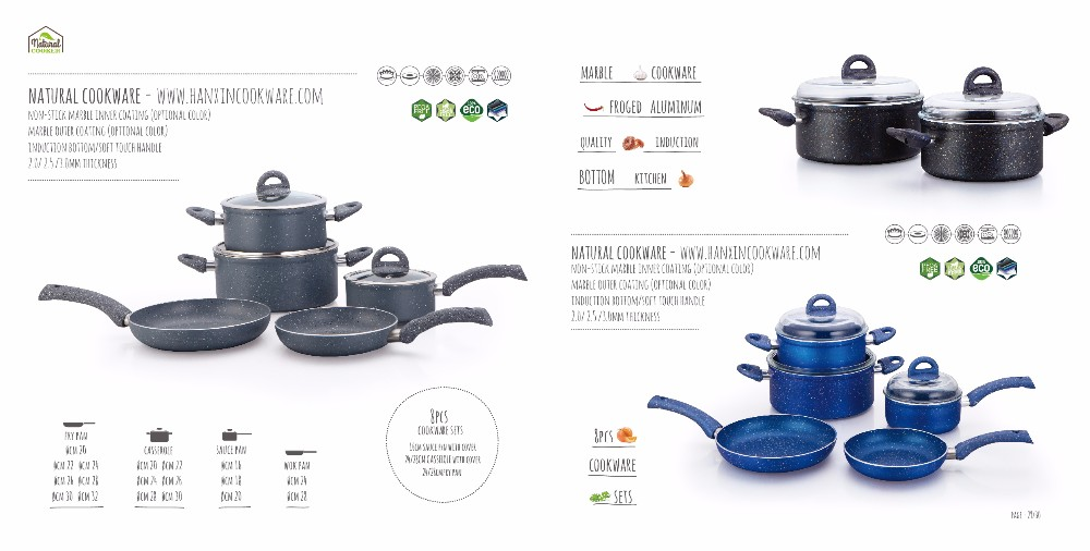 nonstick marble cookware 8pcs