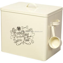 Cream Color Rectangle Metal Dog Food Canister Metal Pet Food Storage Jars With Spoon