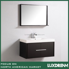 Espresso matte wall mounted dressing table used bathroom cabinet