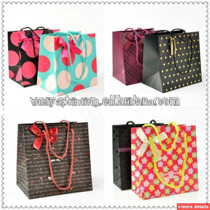 Luxury colourful printing paper shopping bag/hand bag with butterfly printing