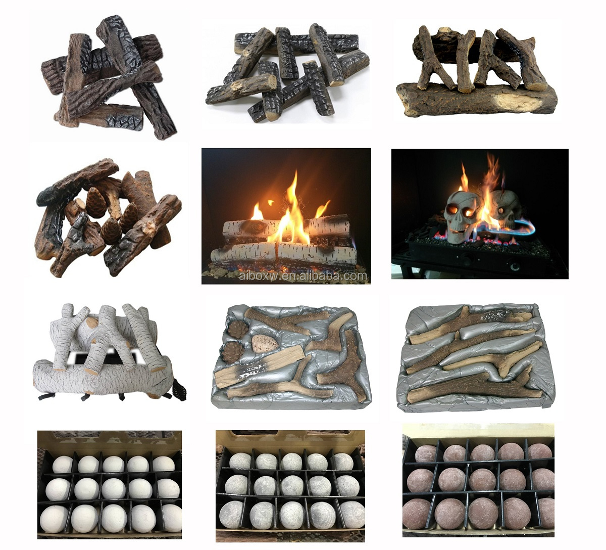 Ebay Popular 10 Pieces Petite Ceramic Wood Fireplace Logs Set S08-48