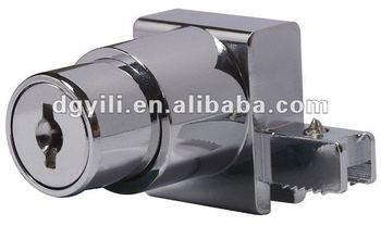 chrome-plated push bottom cam lock for sliding glass door