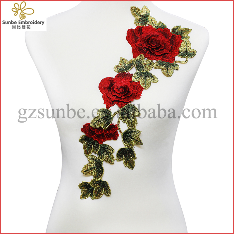 3D Red Rose Applique Embroidery Flower Patches Lace Fabric Motif Venice Clothes Decorated Sewing Supplies can be customized