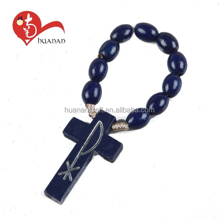 Acceptable Custom prayer wood beads finger rosary with cross
