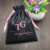 Custom Luxury Black Thick Silk Satin Drawstring Bundle Dust Hair Extension Bag with Logo Printing