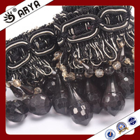 Black Beaded Fringe Curtain Trimming With Acrylic Rhinest Drop Beads Black Chain For Curtain Decorative Accessories