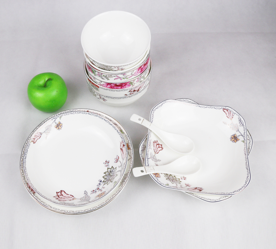 Lead&Cadmium free fine china dinnerware with spoons tableware set