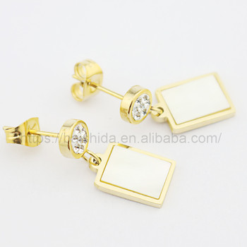 big beautiful genuine shell drop square earrings jewelry