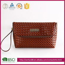 cheap price brown Support custom logo straw imitation PU girl wallet ladies mobile purse
