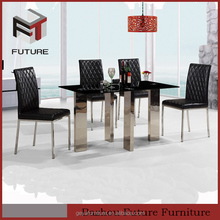 modern rectangular glass top and metal legs dining table sets