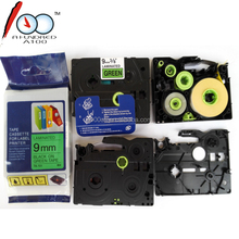 Compatible brother TZ label tape black on green 9mm TZe 721